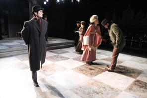 Ice Skater in 'Anna Karenina' at Book-It Repertory Theatre. Photo by Alan Alabastro.