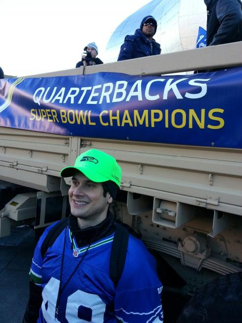 I had the opportunity to walk the Seahawks' Victory Parade route next to the truck carrying Russell Wilson.  The crowd was electric.