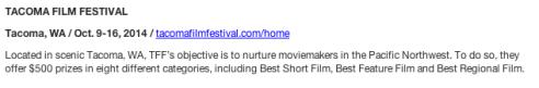 Tacoma Film Festival listing in MovieMaker magazine.