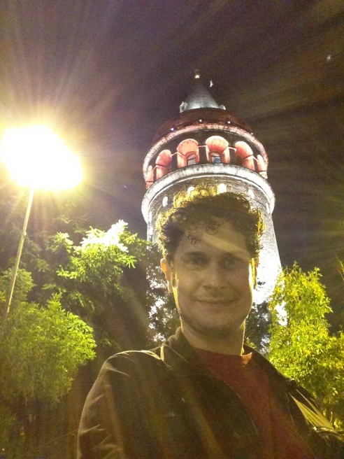 In front of the Galata Tower in Istanbul, Turkey.