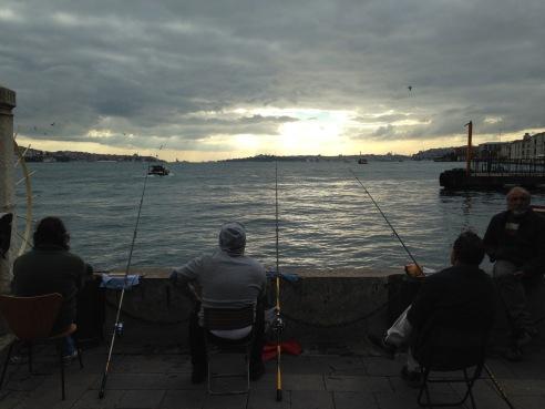 Fishing in Istanbul, Turkey.